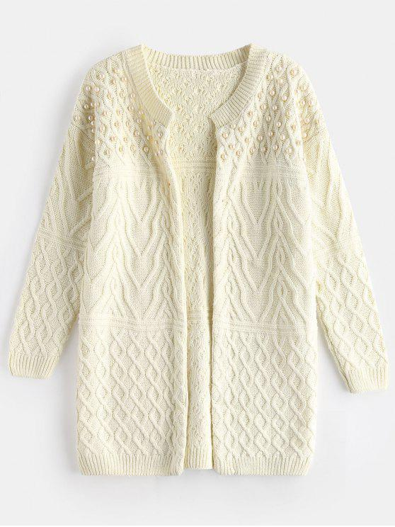 best Pearly Cable Knit Open Front Cardigan - WHITE ONE SIZE