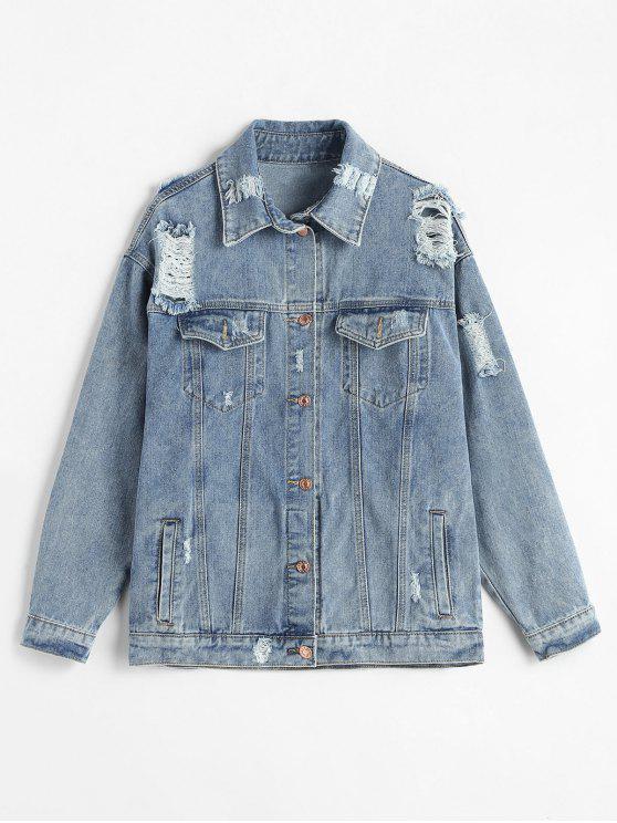 shop Ripped Loose Denim Jacket - JEANS BLUE L