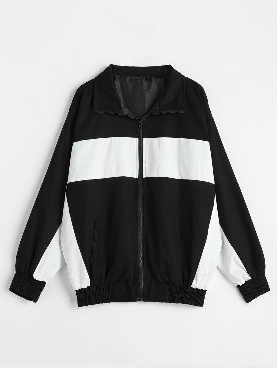 trendy Color Block Patchwork Letter Printed Jacket - MULTI L