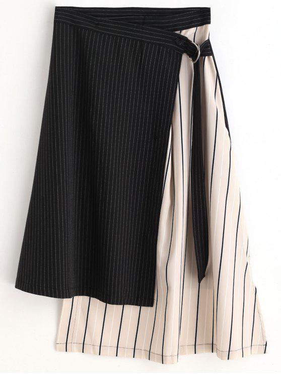 chic Striped Asymmetric Wrap Skirt - BLACK M