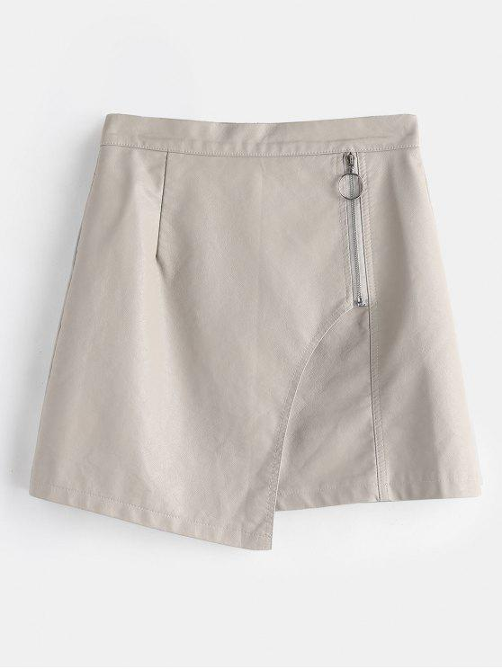 unique Zipped Overlay Faux Leather Mini Skirt - GRAY GOOSE L