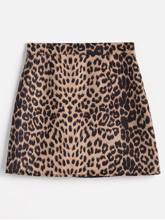 womens Leopard Bodycon Skirt - LEOPARD L