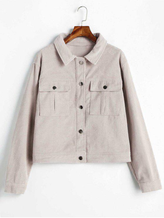chic Pockets Shadow Stripes Jacket - LAVENDER PINOCCHIO M