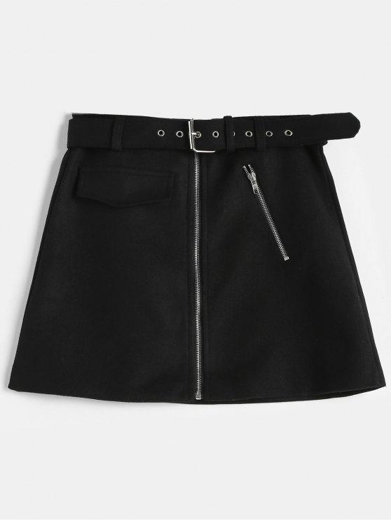 sale Zip Front Belted Mini Skirt - BLACK XL