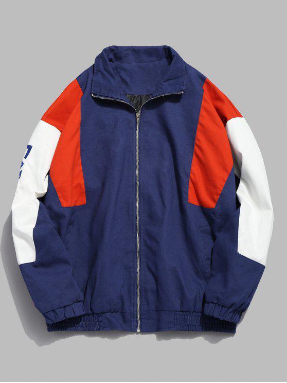 affordable Color Block Letter Zip Jacket - BLUE M