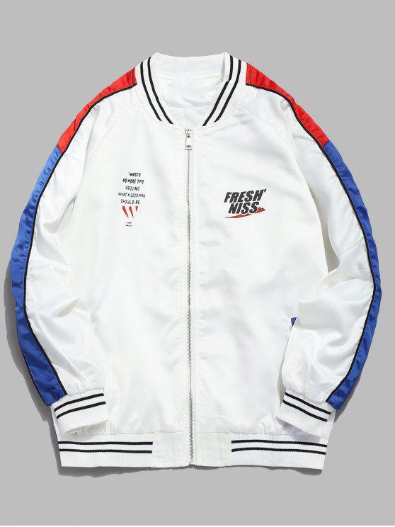 women Contrast Striped Letter Bomber Jacket - WHITE 2XL