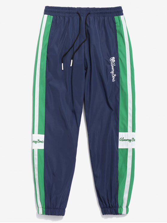 Pantalones de jogging bordados con letras bordadas - Azul Marino  M