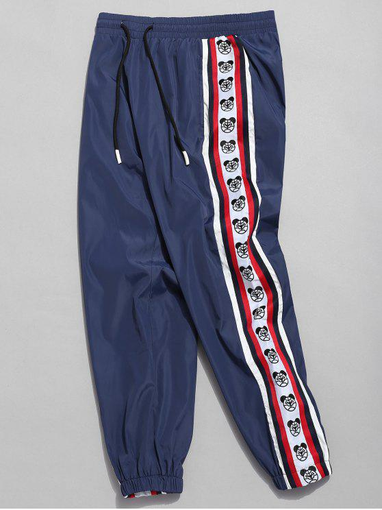 women's Side Bear Logo Striped Jogger Pants - CADETBLUE L