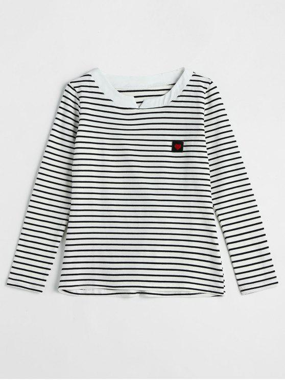 T-shirt de manga comprida com faixa de coração - Branco XL