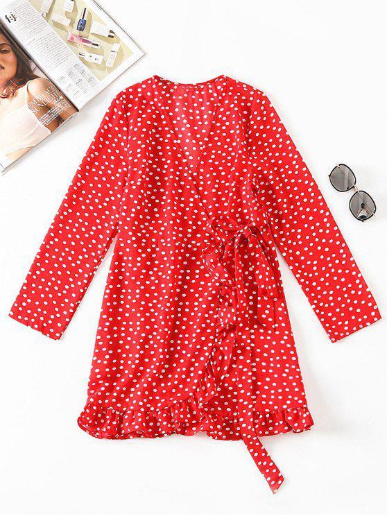 فستان بنمط لف من البولكا نقطة - أحمر S