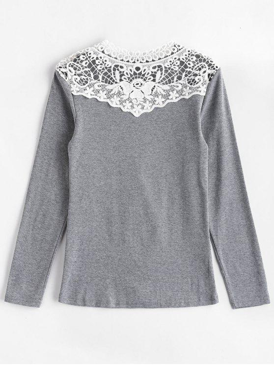 shop Long Sleeve Crochet Lace Yoke Tee - GRAY M