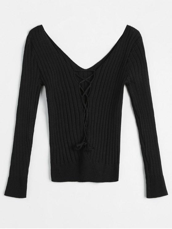 hot Criss Cross Plunging Neckline Ribbed Knitwear - BLACK ONE SIZE