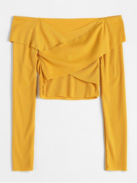 sale Cross Front Cropped Knitwear - YELLOW M