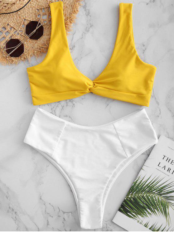 ZAFUL Bikini de Bloques de Color Trenzado - Amarillo S