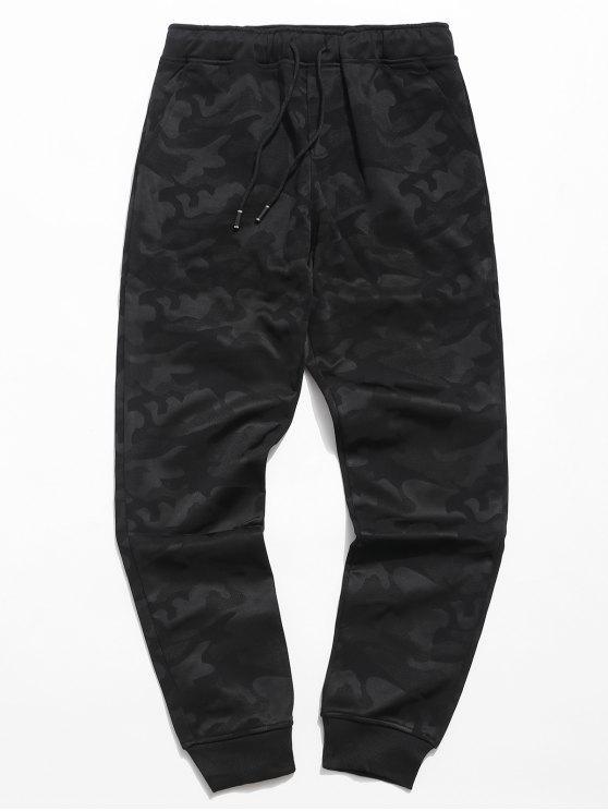 Pantaloni Da Jogging Di Camouflage A Vita Elastica - Nero 3XL