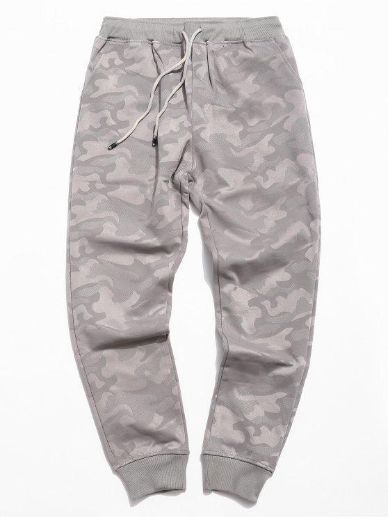 Pantaloni Da Jogging Di Camouflage A Vita Elastica - Grigio 3XL