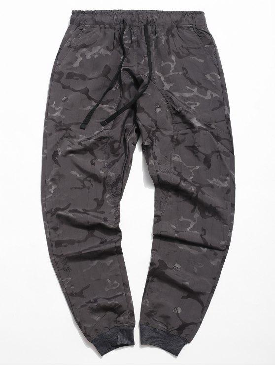 fashion Drawstring Skull Print Jogger Pants - GRAY CLOUD XL
