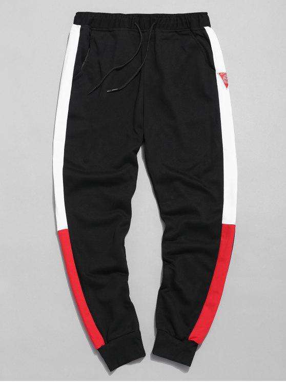 hot Color Block Applique Jogger Pants - BLACK XL