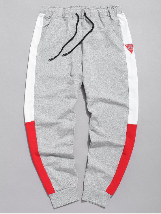 outfits Color Block Applique Jogger Pants - GRAY L