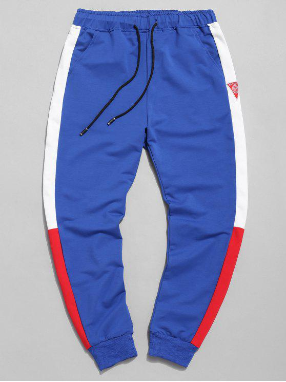 trendy Color Block Applique Jogger Pants - BLUE XL