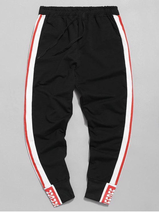 Calças de basculador de cintura elástica de listra lateral - Preto L