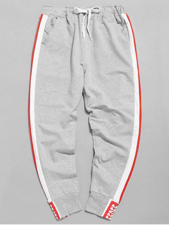 Calças de basculador de cintura elástica de listra lateral - Cinzento XL