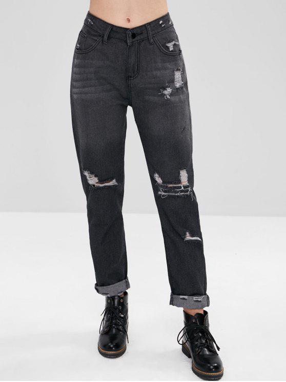 Zip Fly Perna Reta Jeans Rasgados - Cinza de Carbono XL