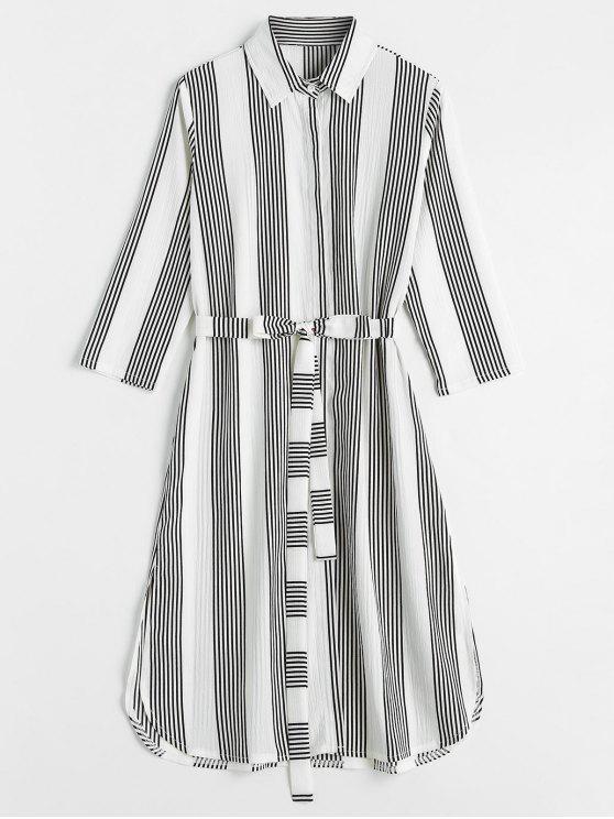 best Striped Slit Shirt Dress - WHITE S