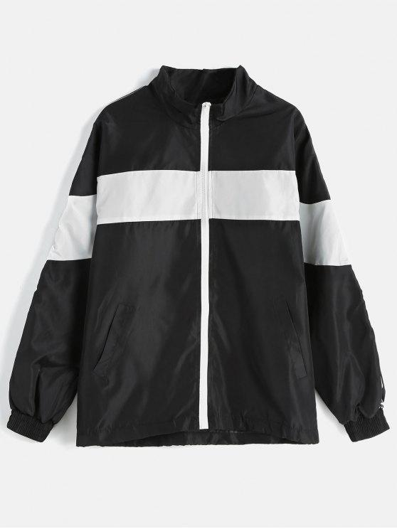 trendy Color Block Loose Fitting Jacket - BLACK M