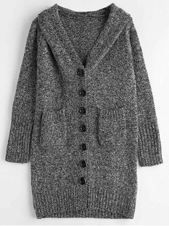 lady Heathered Button Up Cardigan - BLACK ONE SIZE