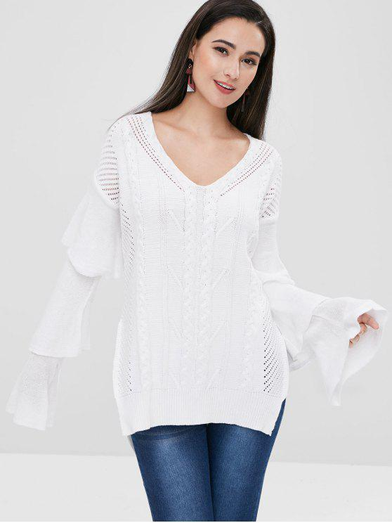 latest Tiered Sleeve High Low Sweater - WHITE ONE SIZE