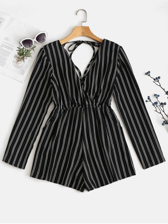 hot Tied Striped Low Cut Romper - BLACK M