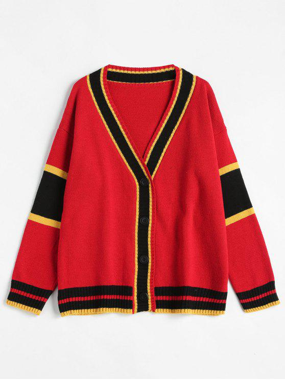 hot Colorful Striped Plunging Neck Cardigan - MULTI ONE SIZE