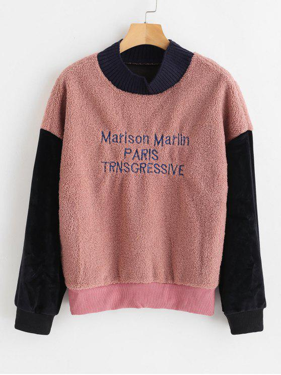 unique Velvet Panel Letter Embroidered Fluffy Sweatshirt - ORANGE SALMON ONE SIZE