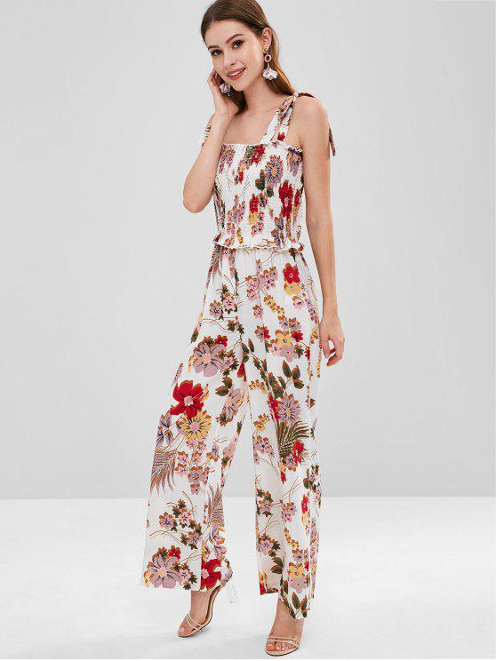 cae25480ba4 68% OFF  2019 ZAFUL Shirred Tie Strap Jumpsuit In MULTI M