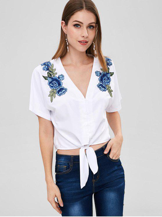 trendy ZAFUL Tie Waist Floral Patch Blouse - WHITE XL
