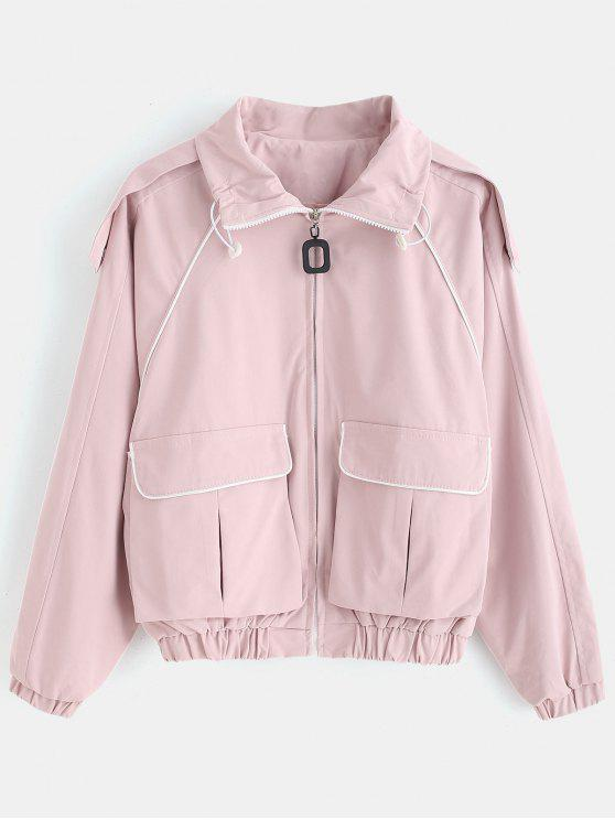 outfit Raglan Sleeve Piping Jacket - SAKURA PINK ONE SIZE