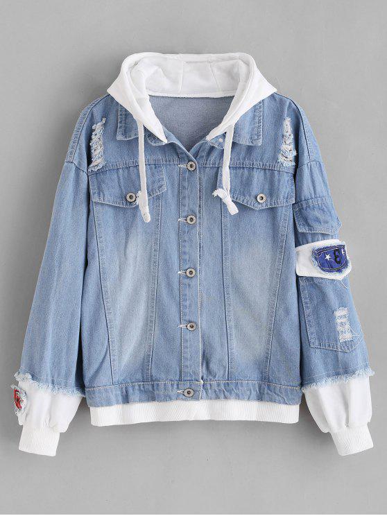 latest Distressed Hooded Denim Jacket - DENIM BLUE L