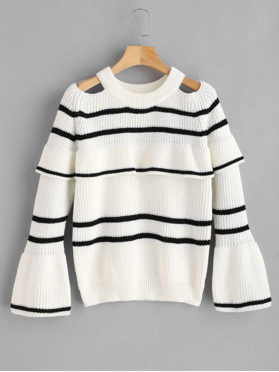 sale ZAFUL Stripes Cold Shoulder Ruffles Sweater - WHITE ONE SIZE