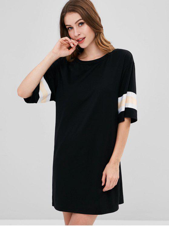 ladies ZAFUL Striped Trim T-shirt Dress - BLACK L