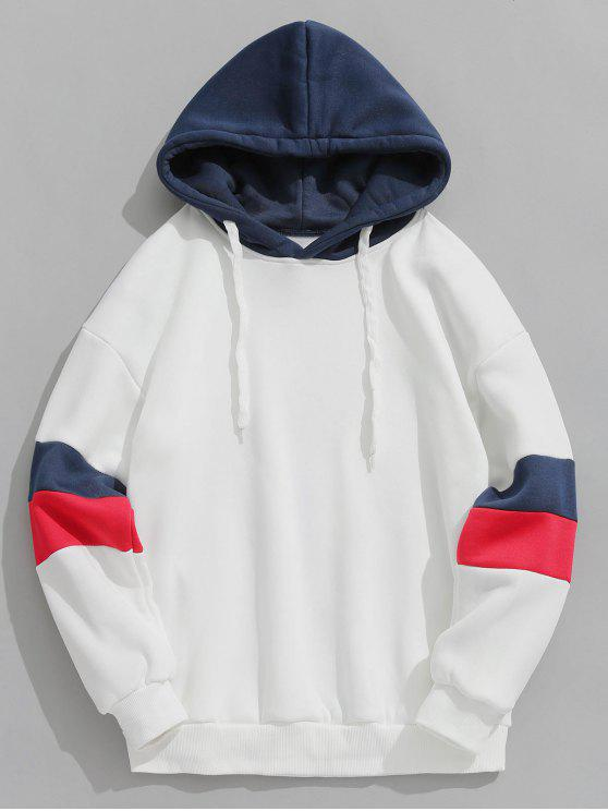 new Contrast Stripe Fleece Hoodie - WHITE M