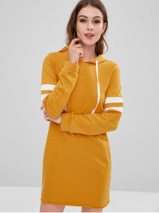fashion ZAFUL Long Sleeve Striped Hooded Dress - BEE YELLOW M