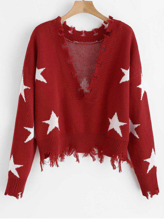 Suéter de estrellas deshilachadas ZAFUL - Rojo Talla única
