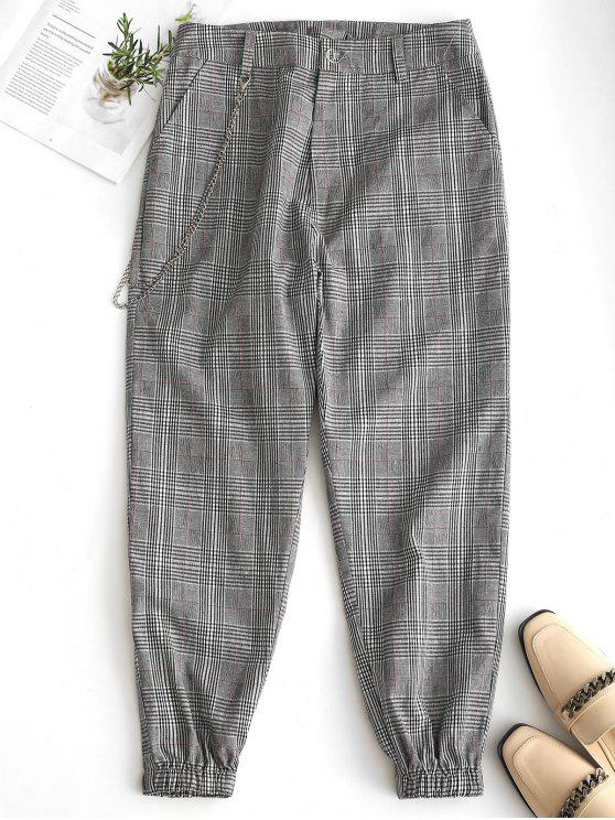 best Chain Embellished Plaid Jogger Pants - BLACK L