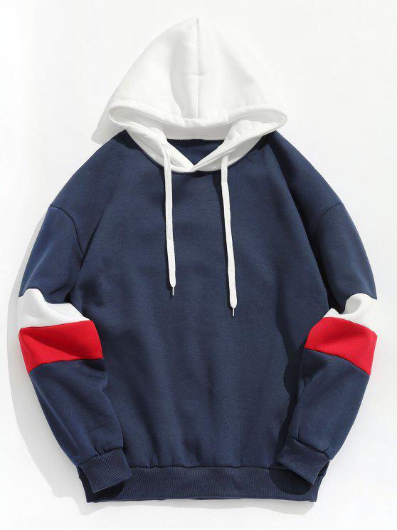 ladies Contrast Stripe Fleece Hoodie - DEEP BLUE L