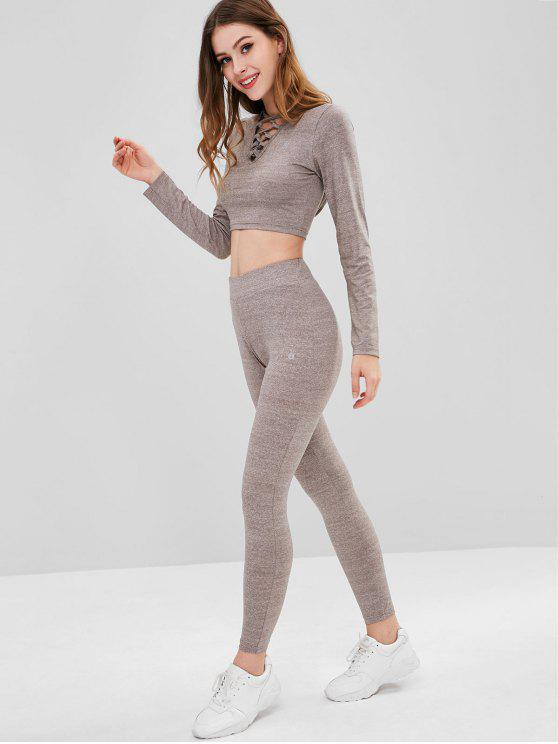 ZAFUL Heather Criss Cross Sports Set - Granito L