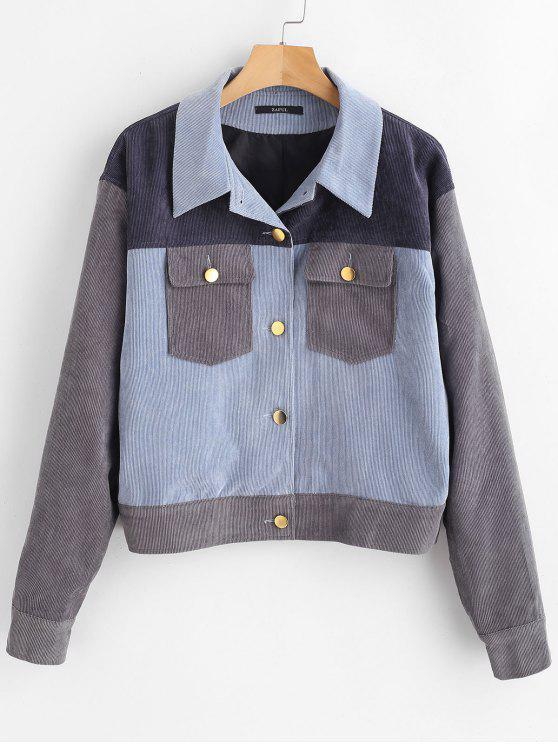 lady Color Block Corduroy Shacket Jacket - MULTI S