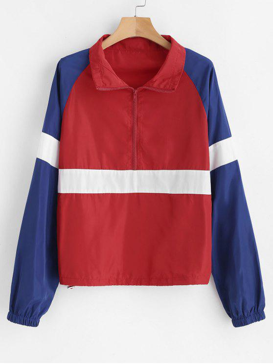 fancy Zipped Color Block Lightweight Pullover Jacket - RED M