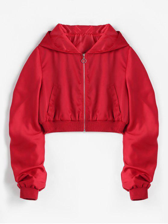 Veste à Capuche Courte Zip en Avant - Rouge L