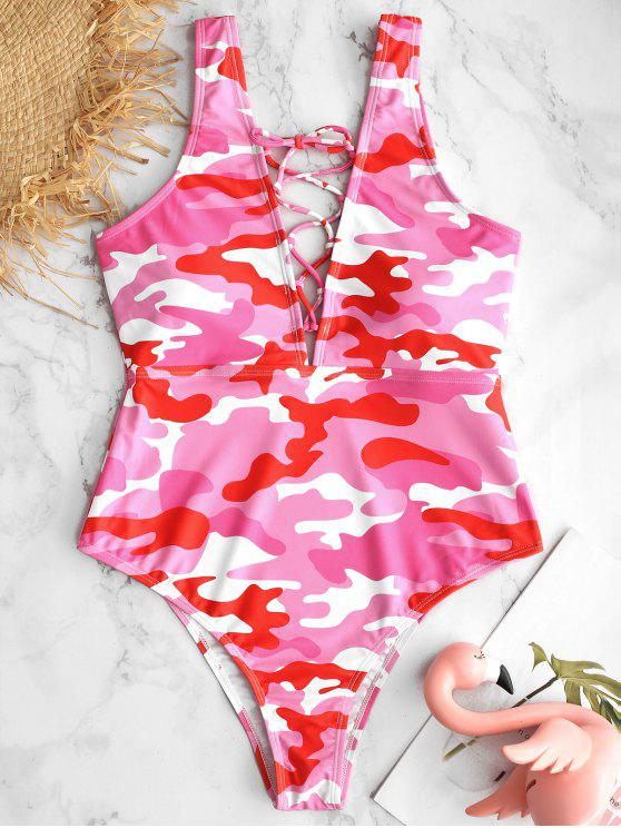 lady ZAFUL Camo Lace Up Backless Swimsuit - PINK S